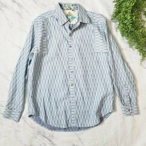 Robert Graham Light Blue Dart Detail Button Up Top